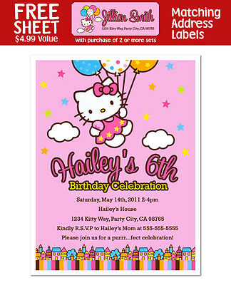 Hello Kitty Birthday Party Invitations - 8 Hello Kitty Party Invites Balloon Dreams Birthday Personalized Invitations