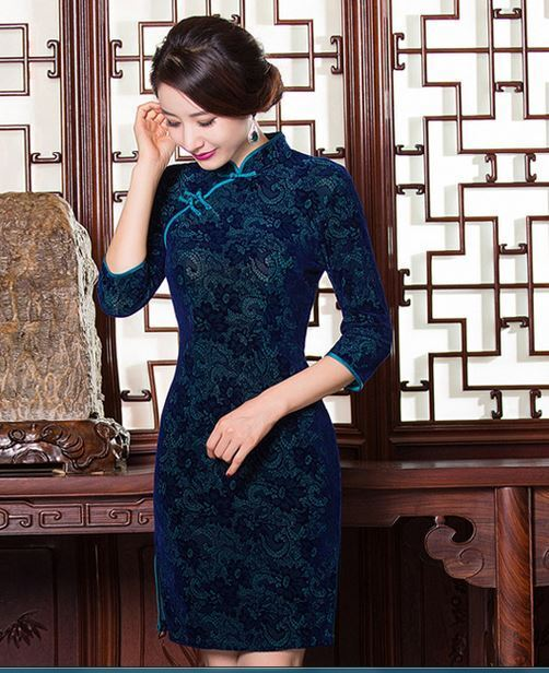 Velvet Chinese Cheongsam Qipao Dress with Leisi  Flower Pattern Blue Color