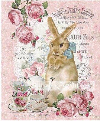 VINTAGE RABBIT~Pink Roses~TEACUPS~Teapot~FABRIC BLOCK~Quilt~Pillow~PARIS CHIC