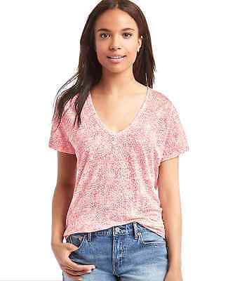 GAP linen V-neck jersey knit tee star print pink white S 4 easy fit short -