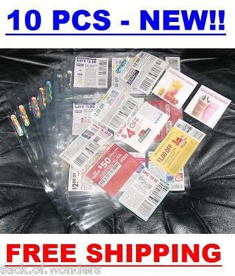 ( 10 ) Coupon Sleeves Holders for binders, baseball cards, pokemon, yugioh sport