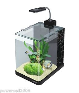 ME 175A Glass Enclosed Small Ecological Gifts Aquarium LED Fish Tank ...