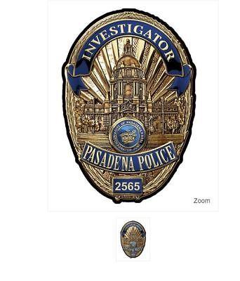 PASADENA, CA.  POLICE Dept. (Invest.)  BADGE All Metal Sign (With Badge Number)