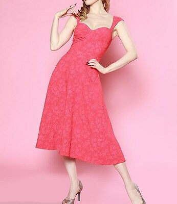 Roman Holiday Coral Lace Dress by Bettie Page Sz 4 NWT BD006542 MSRP $118 - Roman Dresses