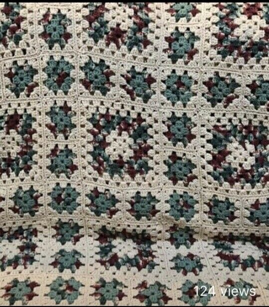"Crocheted Throw Granny Squares 48"" X 72"""