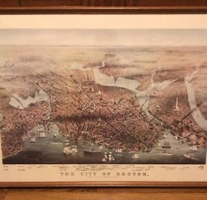 Framed Currier and Ives 1873 Map of the City of Boston