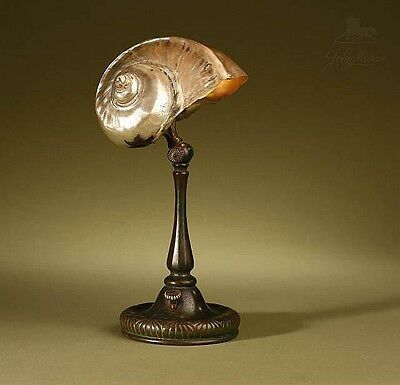 Tiffany Studios Original Signed Nautilus Shell Table Lamp Ex Mallory Family NYC
