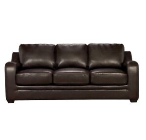 Dark brown leather pull-out  couch