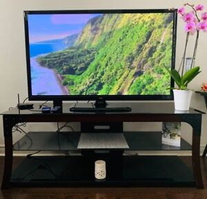 Black glass TV stand for 60 inch TV 100$