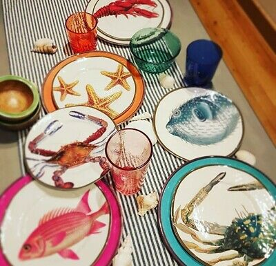 Pottery Barn Set 4 Ocean Critter Salad Plate Dessert Starfish Lobster Snapper Salad Plate Set
