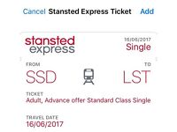 Stanstead express London to London central valid one way on 16/06/2017. Low price for quick sale