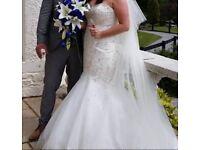 Mori Lee fishtail wedding dress size 14 plus full length veil and tiara