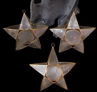 One Capiz Star w. Gold Trim Christmas Ornament 4