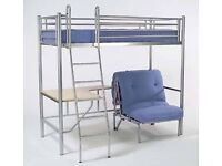 Jay-be high sleeper with single futon sofa bed and desk