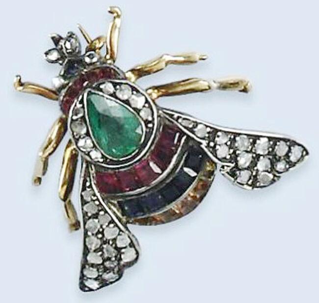 1.57ct Rose Cut Diamond Antique 925 Silver Emerald Sapphire Ruby Gemstone Brooch