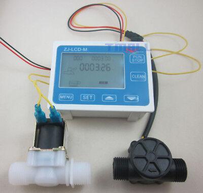 G12 Water Flow Control Lcd Displayflow Sensor Metersolenoid Valve Gauge New