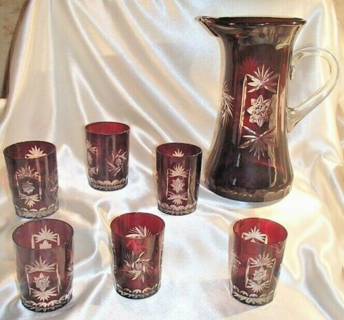 Vtg 1960s Bohemian/Czech Ruby Cut to Clear Pitcher + 6 Tumblers Water Set MCM
