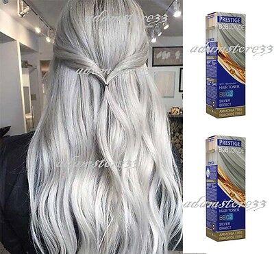 BB02 GREY HAIR SILVER EFFECT TONER DYE BLOND HAIR 100 ml. NO AMMONIA & PEROXIDE