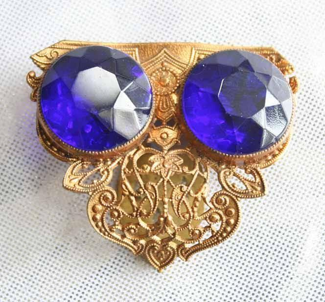 Fabulous Antique Edwardian Baroque Cobalt Blue Cut Glass Dress Clip