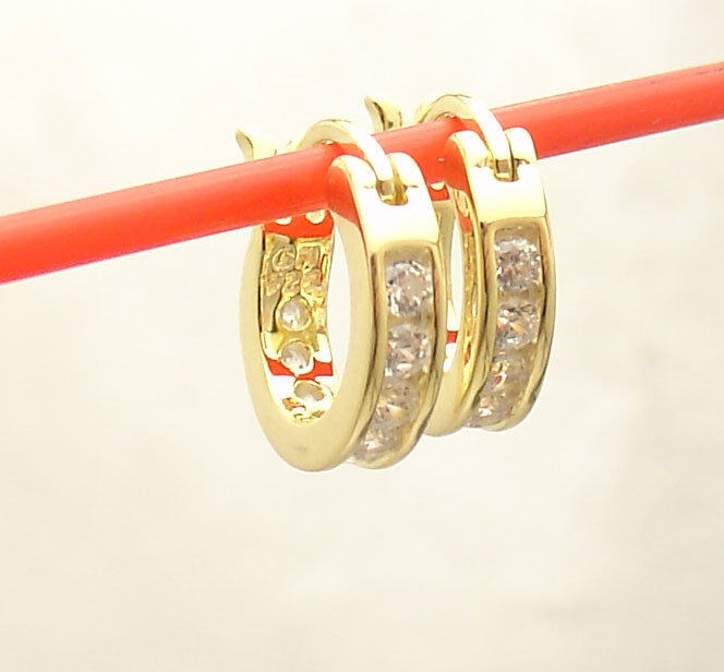 45mm Inside Out Diamonique Pave CZ Hoop Earrings 14K Yellow Gold Clad Silver 925