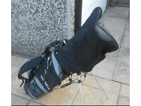 Full set of golf clubs, Srixon drivers, Acer irons & a Mizuno 3 iron with stand bag