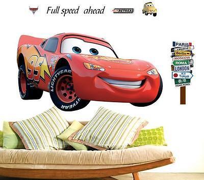 Wand aufkleber tattoo wandsticker cars Zimmer auto 3D Lightning McQueen XXL ()