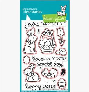 Details about Lawn Fawn Photopolymer Clear Stamps-15ct + Dies EGGSTRA