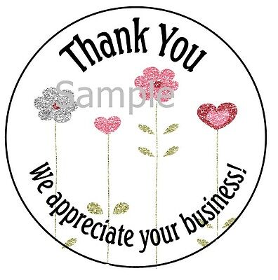 Thank You - Pretty Flowers 12  1 Sticker Seal Labels