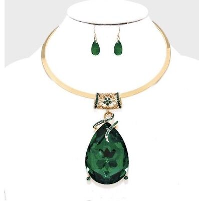 Gold Emerald Set (Green Emerald Gold Choker Crystal Pageant Dangle Earrings Jewelry Necklace Set )