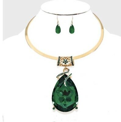 Green Emerald Gold Choker Crystal Pageant Dangle Earrings Jewelry Necklace Set