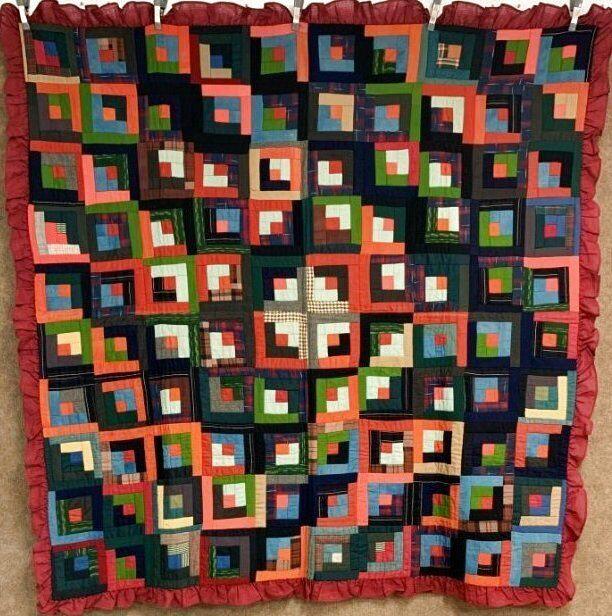 Rich Jewel Tones! c 1900 PA Log Cabin QUILT Wools Mennonite Antique