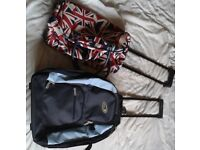 2 x holdalls / bags on wheels with fold-down handles. Price for BOTH