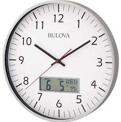 Round Wall Clock 14 Analog Quartz Movement Date Display Classic Industrial Look