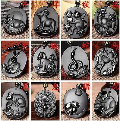 100  Natural Black Obsidian Carved Chinese Zodiac Lucky Pendant   Beads Necklace