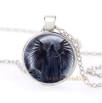 Grim Reaper With Moon Cabochon Glass Silver Necklace Men Woman Jewelry