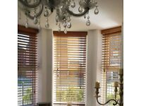 Wooden Venitian Brown Blinds ( fitted to 7 windows in total - measurements in description)