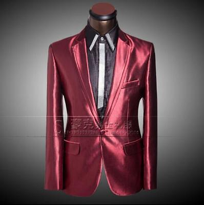 New Mens Glitter Shiny Blazer Jacket&Pants Dress Coat Weddig Stage Costume Suits
