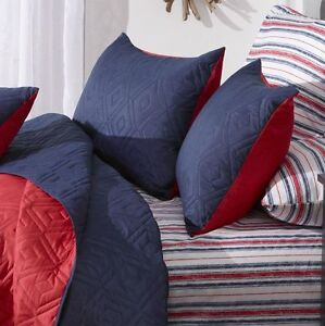 Reversible 4pc Coverlet Set Navy/Red - King, New