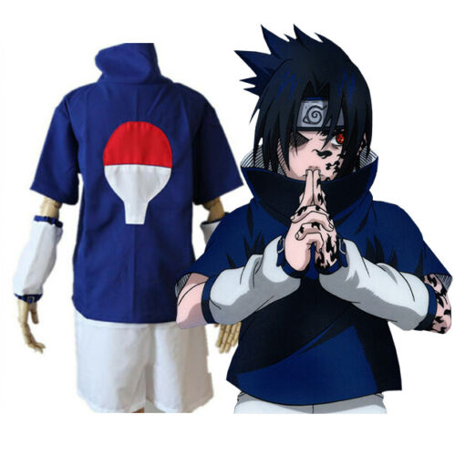 Naruto Uchiha Sasuke Costume Halloween Cosplay Set + Headband + Kunai - Small