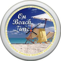 Personalized On Beach Time Wall Clock Beach House Nautical Gift