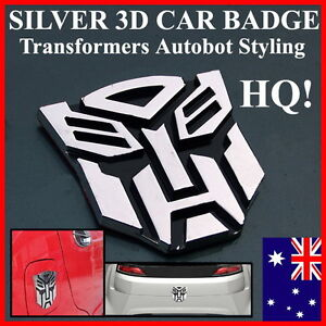 HQ Silver 3D Transformers Big Autobot Car Badge