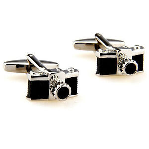 Camera-Shaped-Photographer-Photo-Man-Mens-Cufflinks-Silver-Black-XMAS-Gift