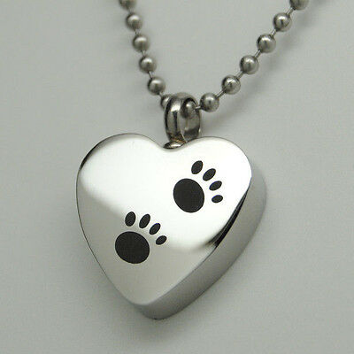 Paw Urn Necklace Holds Dog Or Cat Ashes Engraveable Pet Keepsake - $7.99