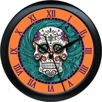 Sugar Skull Wall Clock Day of the Dead Orange & Turquois Tatoo Parlor - Sugar Skull Tatoo