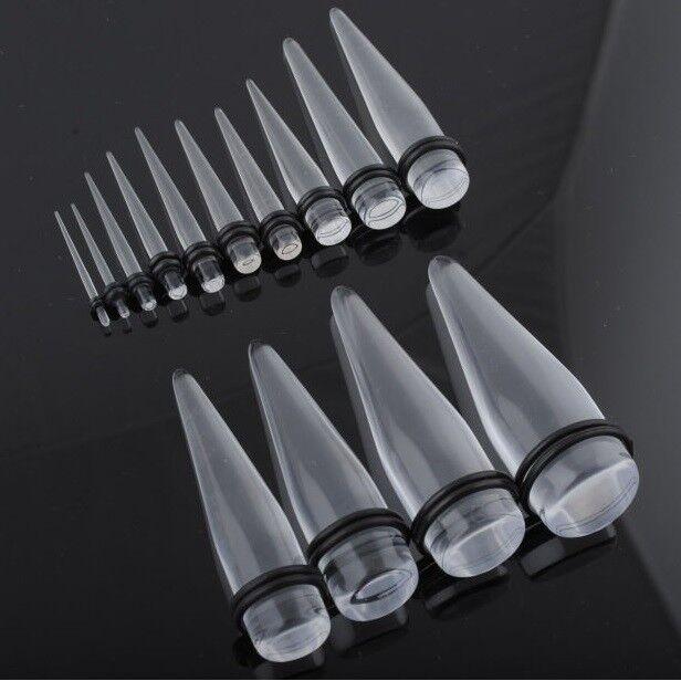 Taper Espansore Dilatatore Orecchio Acrilico Trasparente 1.2mm - 20mm