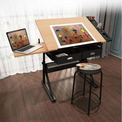 Adjustable Art Craft Desk Drafting Drawing Tilt Table with Storage Drawers Stool
