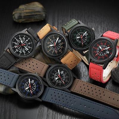 HOT Vintage Classic Men's Waterproof Date Leather Strap Sport Quartz Army Watch