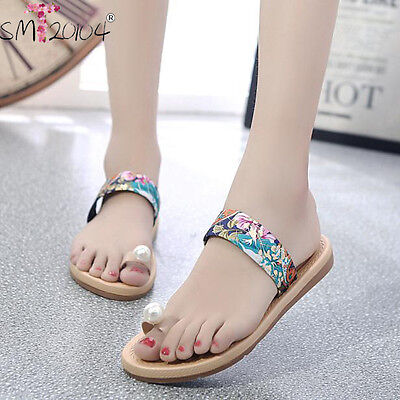 Women Fashion Summer Vintage Flat Flip Flops Sandals Loafers Boho Beach Shoes