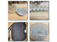 Microwave Avent Bottle Steriliser and Bottles and Bottle Bag