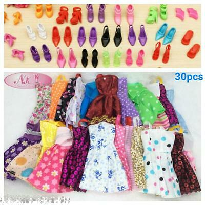 30 x bundle girls toy doll BARBIE dress party dresses outfits & shoes sets BC55